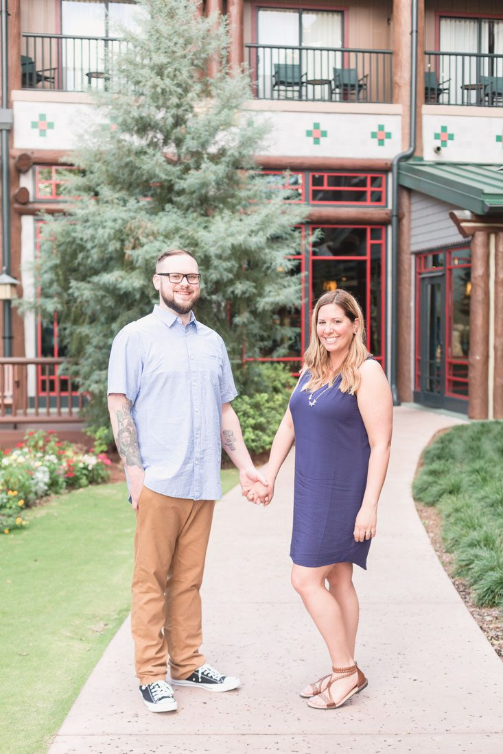 Engagement photography session at Disney resort Wilderness lodge
