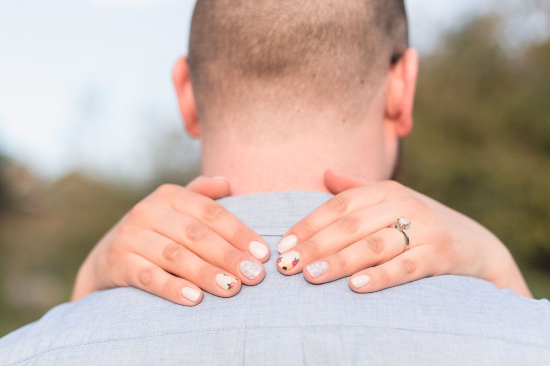 Close up of the engagement ring during this Disney shoot