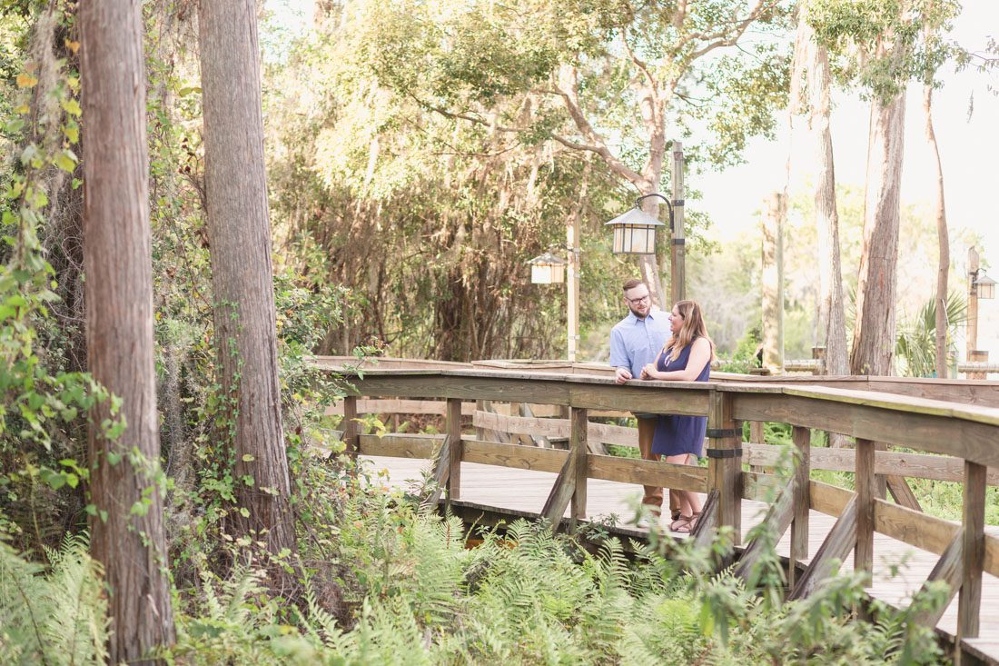 Scenic engagement photo taken at Wilderness Lodge at Disney by Orlando wedding photographer