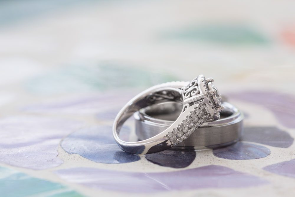 Close up shot of the wedding rings during an intimate Orlando wedding