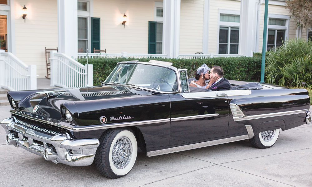 Vintage wedding car rental from a wedding at Leu Gardens captured by top Orlando wedding photographer