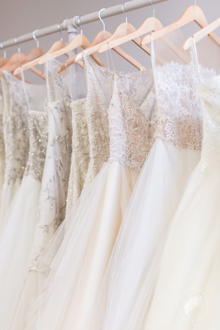 Orlando wedding photographer captures wedding dresses at boutique in Winter Park called The Bridal Finery