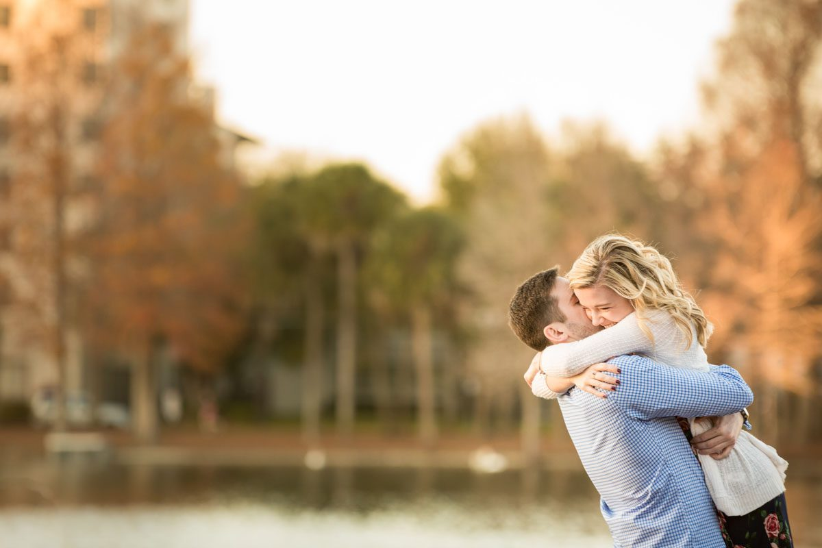 Surprise Proposal And Engagement At Lake Eola In Downtown By Top Orlando Wedding Photographer