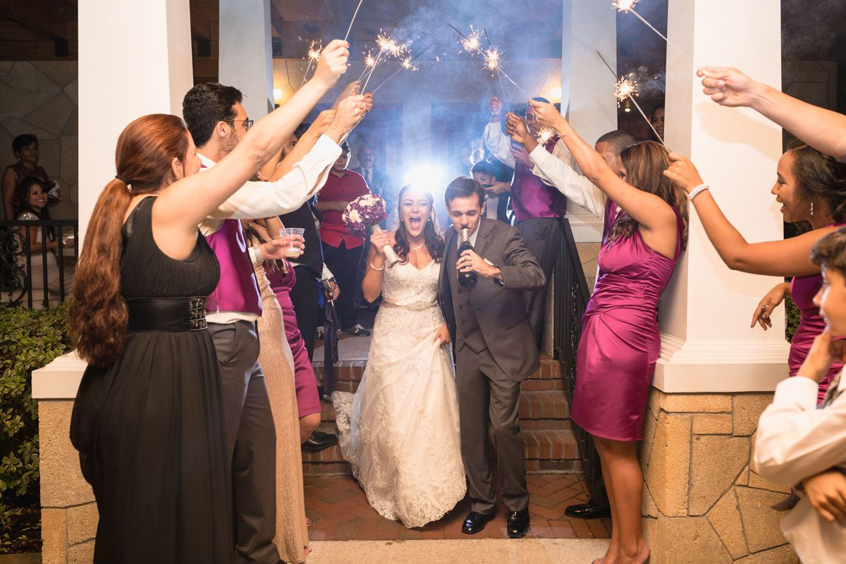 Fun Sparkler exit at the Estate on the Halifax Wedding by top Orlando wedding photographer