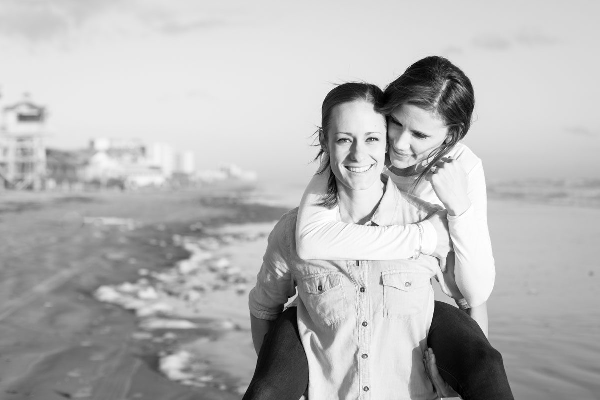 Surprise lesbian proposal at new smyrna beach by top Orlando LGBT same-sex wedding photographer