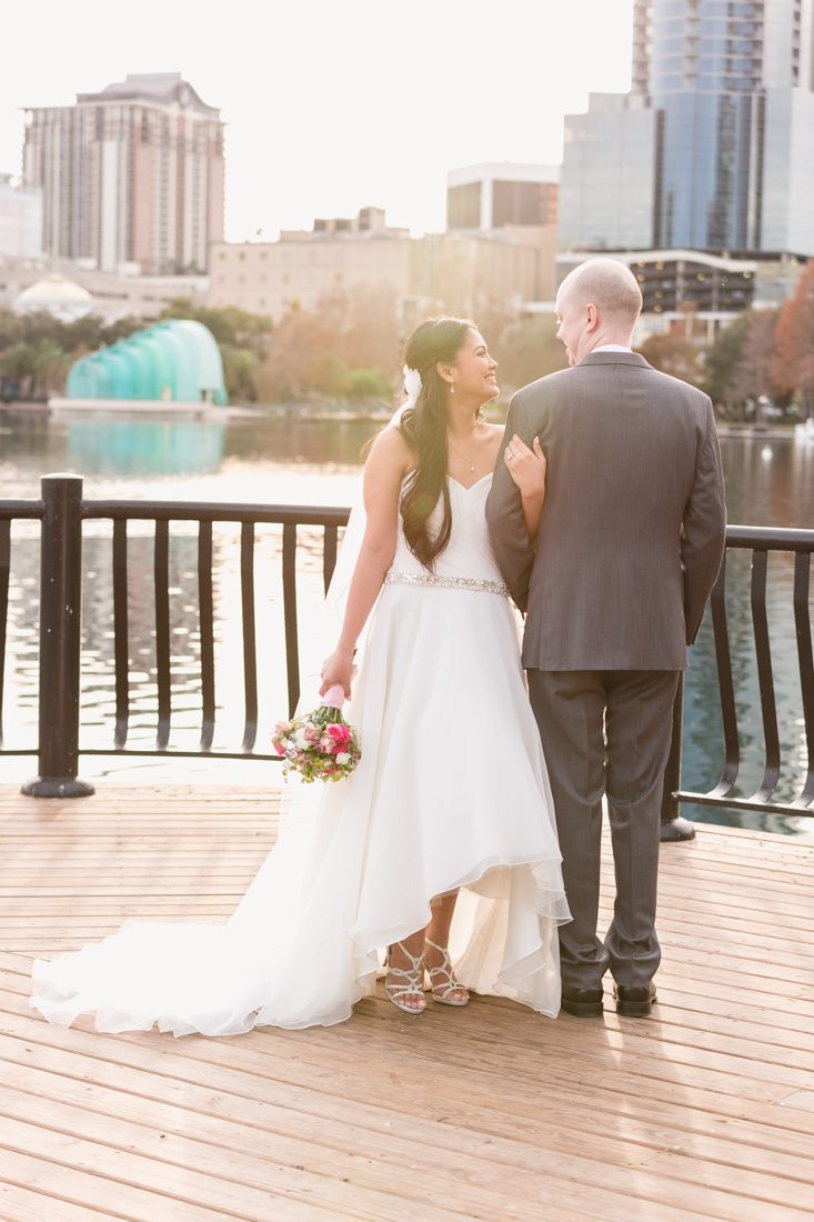 Top Orlando wedding photographer captures intimate elopement wedding ceremony at Lake Eola in downtown Orlando