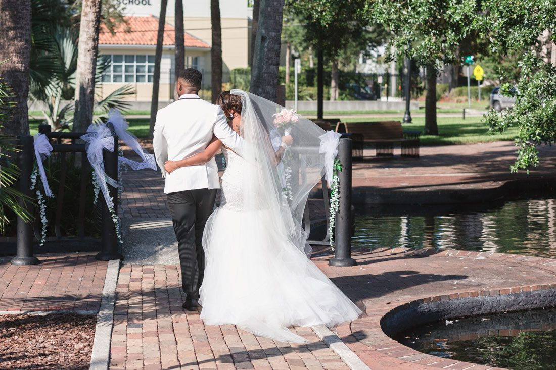 Black and white themed wedding at Lake Eola at the Mezz captured by top Orlando Wedding photographer