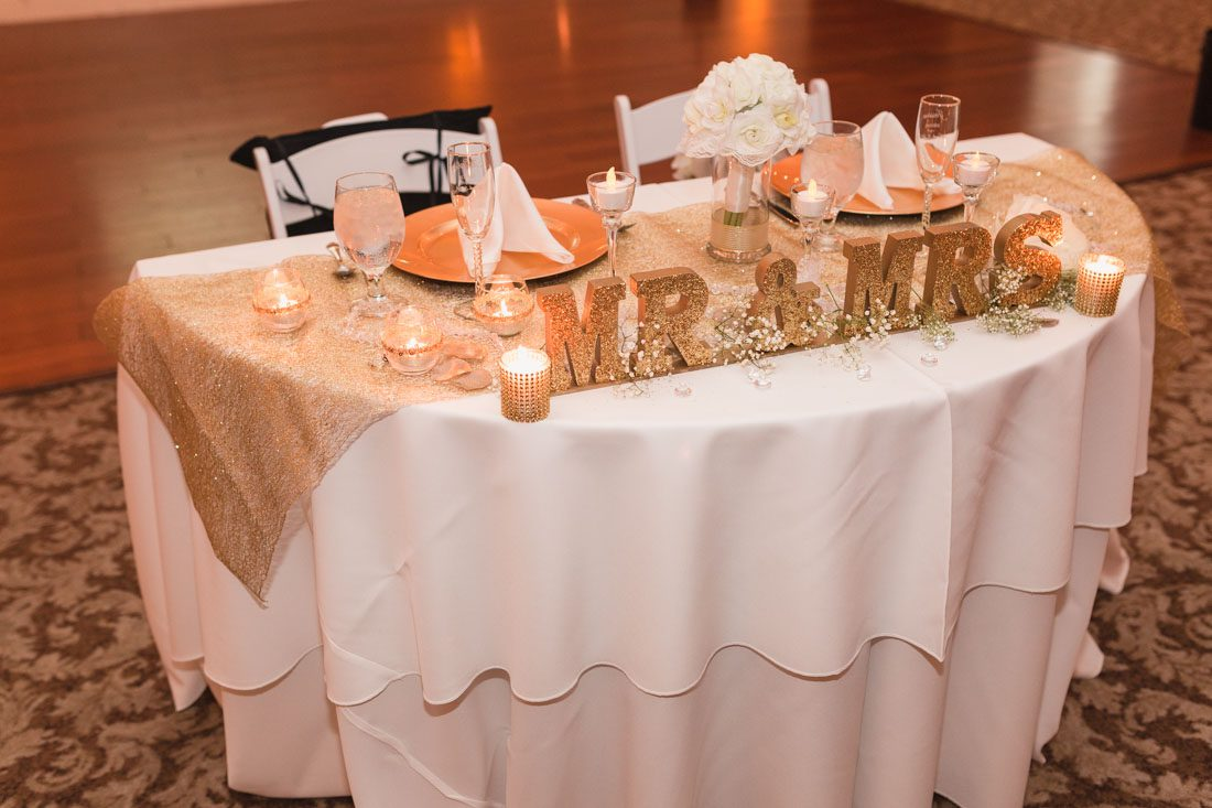 Orlando wedding photographer captures glittery gold wedding at Lake Mary Events Center