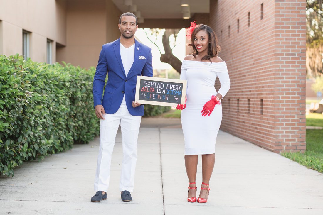 Orlando wedding photographer captures Greek sorority fraternity inspired engagement session photos at UCF in Orlando for Delta and Sigma couple