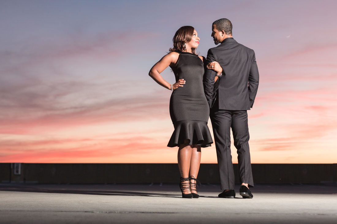 Top Orlando wedding photographer captures fun engagement session featuring a pitbull dog and a beautiful couple at UCF in Orlando
