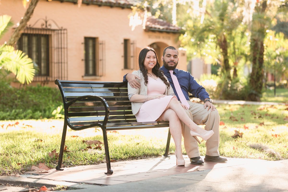 Orlando wedding photographer captures fun Spring engagement session at Rollins College in Winter Park featuring bunny heads