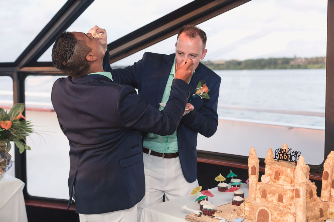Orlando wedding photographer captures gay wedding in yacht dinner cruise boat