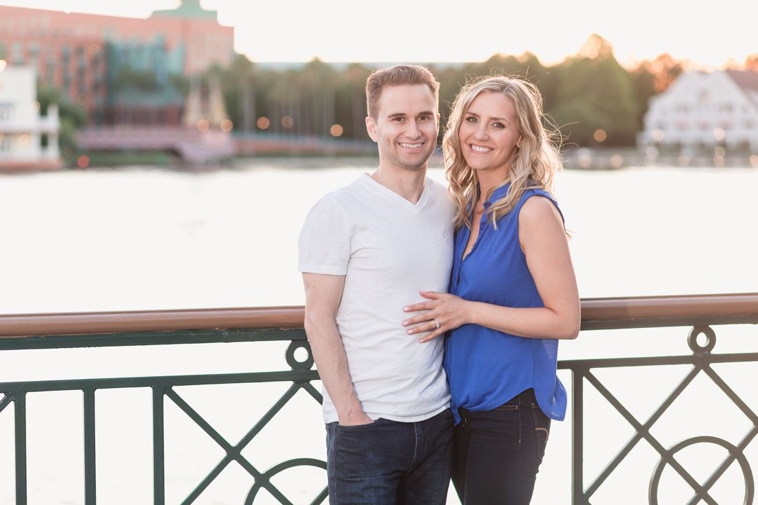 Playful engagement session at Disney's boardwalk by top Orlando wedding photographer