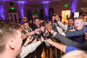Navy blue & yellow themed wedding at Trilogy Magnolia House captured by Orlando Wedding Photographer