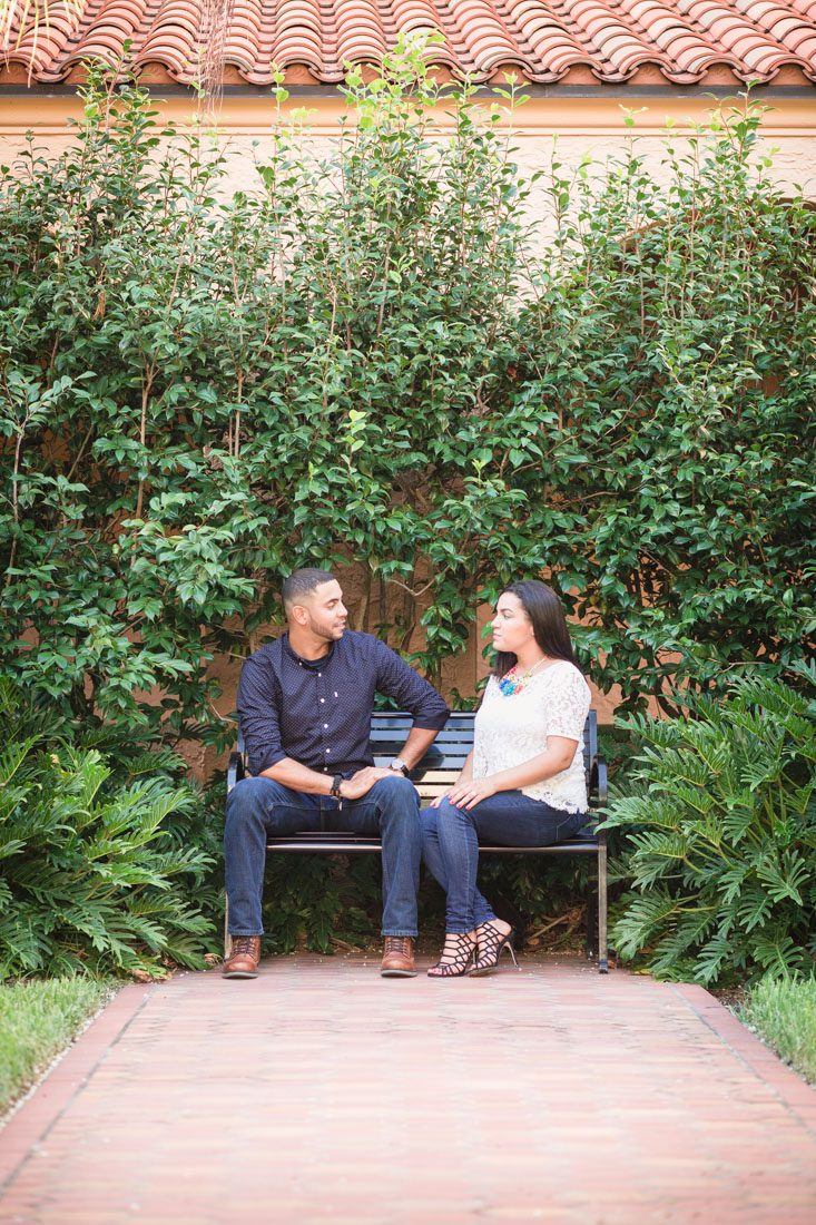 Romantic engagement session at Rollins College in Winter Park captured by top Orlando wedding photographer