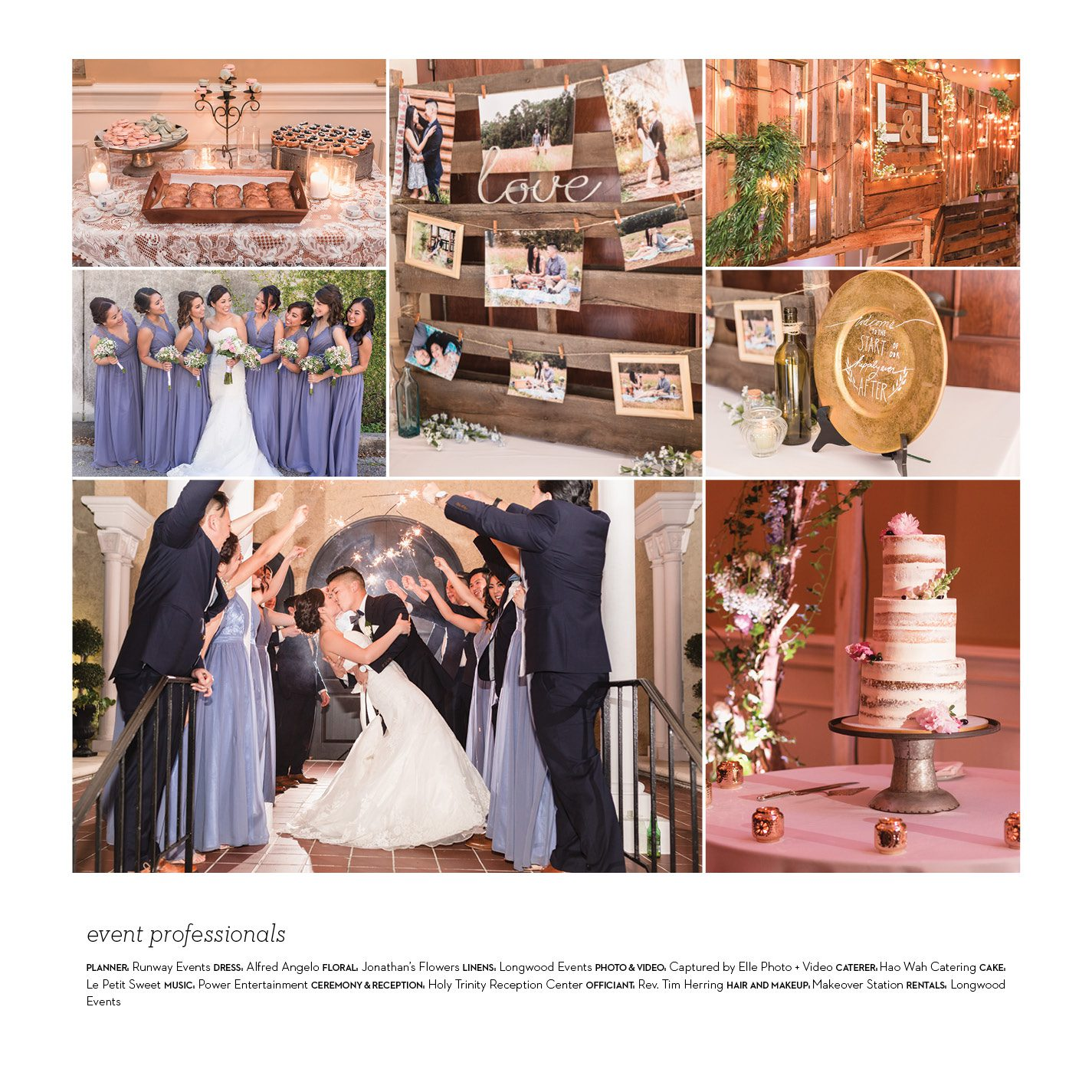 Orlando wedding and engagement photographer featured in Central Florida Celebrations & Events magazine for wedding at the Holy Trinity Reception center photography