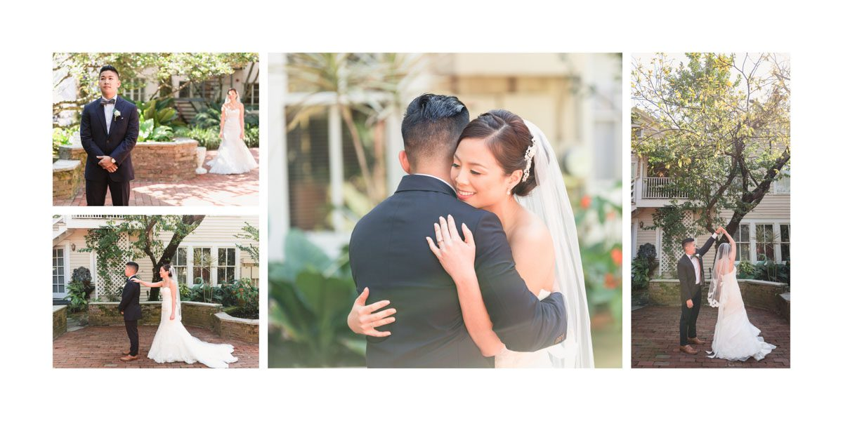 Sample album spread of a first look on the wedding day by Orlando photographer and videographer