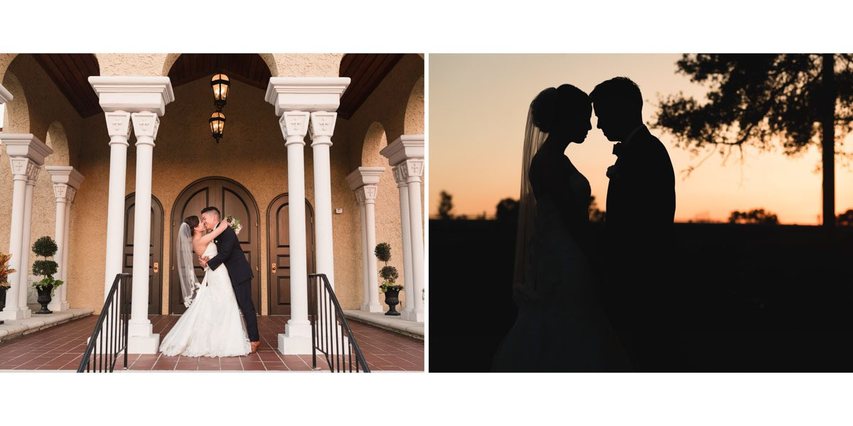 Sample album spread of couples portraits by top orlando wedding photographer and videographer