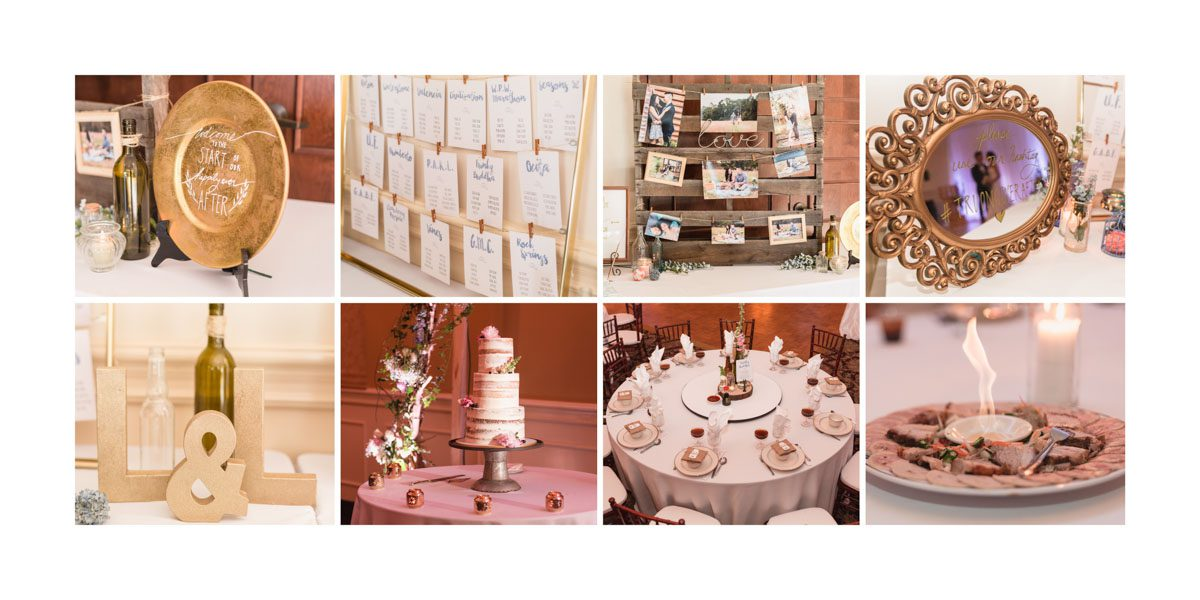 Sample wedding album spread of reception details by top Orlando photographer and videographer
