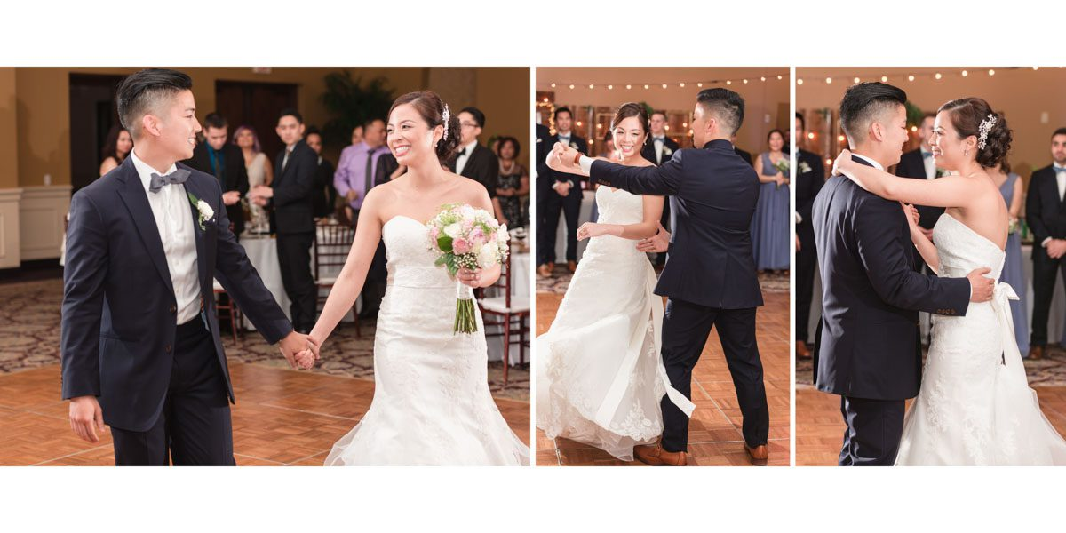 Sample album spread of the first dance by top Orlando wedding photographer and videographer