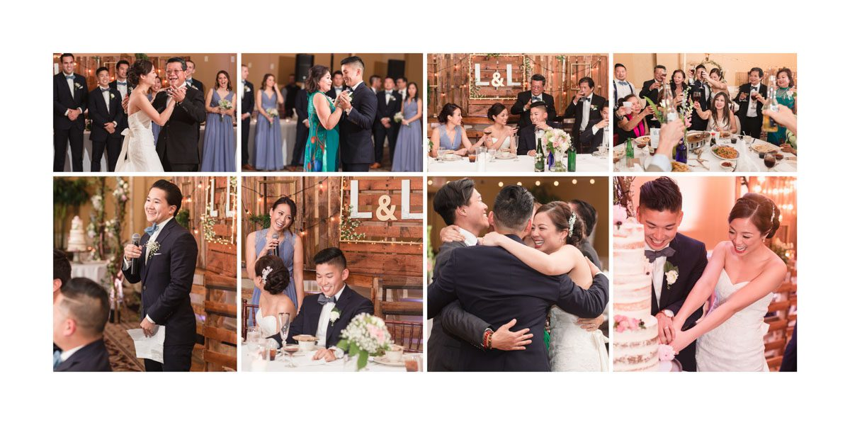 Sample wedding album spread of the reception by Orlando photographer and videographer