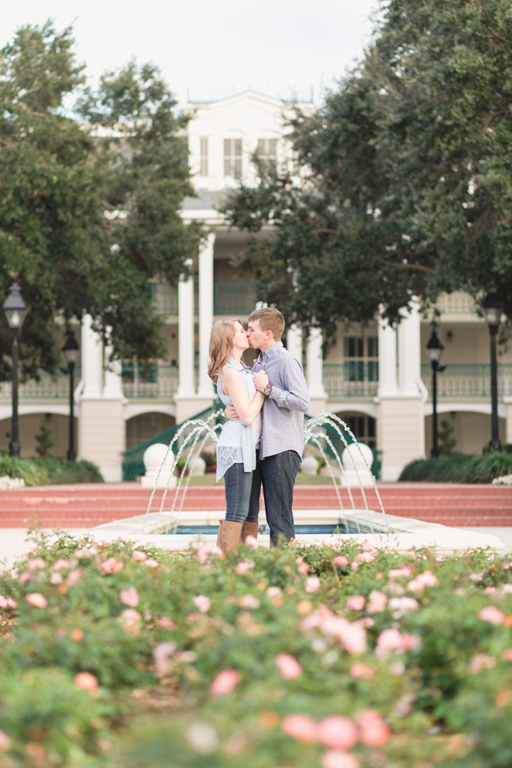 Playful and romantic engagement photography session at Disney's Port Orleans Riverside resort captured by top Orlando wedding photographer