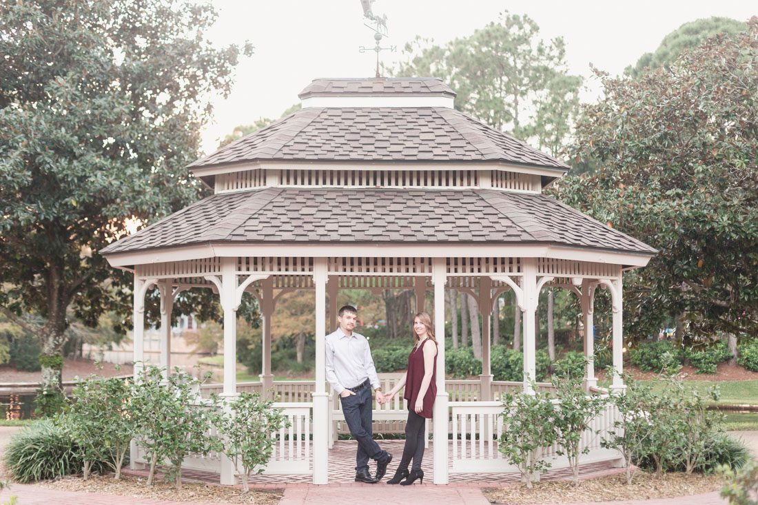 Orlando engagement and wedding photographer captures super fun and playful engagement photo shoot at the Port Orleans Riverside resort in Disney, Orlando Florida