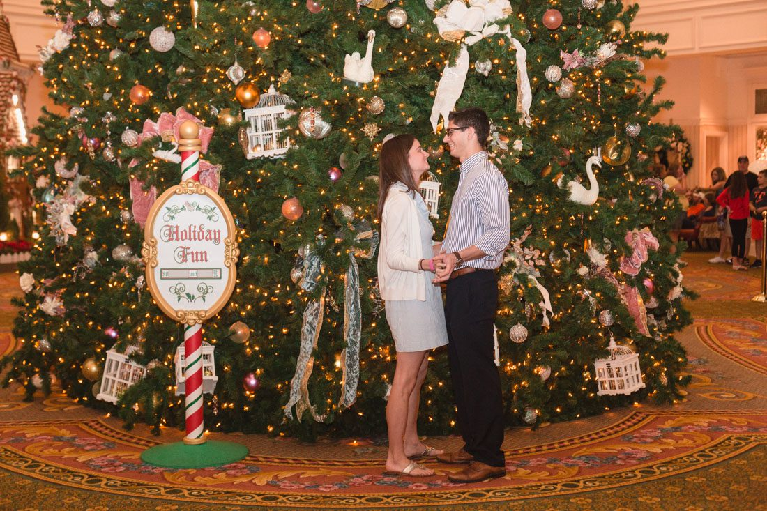 Surprise proposal at Disney's grand floridian resort by top Orlando engagement and wedding photographer