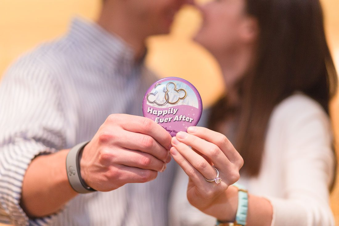 Photography of a surprise marriage proposal at Disney's Grand Floridian resort in Orlando by top engagement and wedding photographer