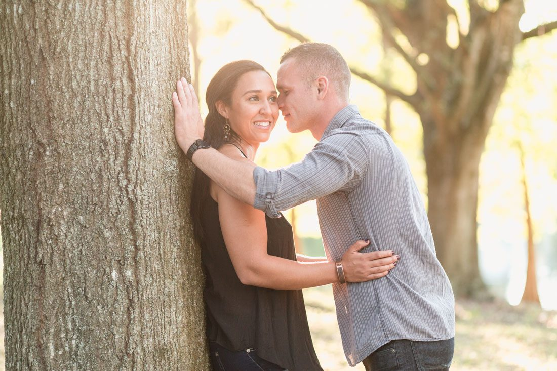 Orlando engagement photographer captures warm Fall session at a park in downtown Orlando
