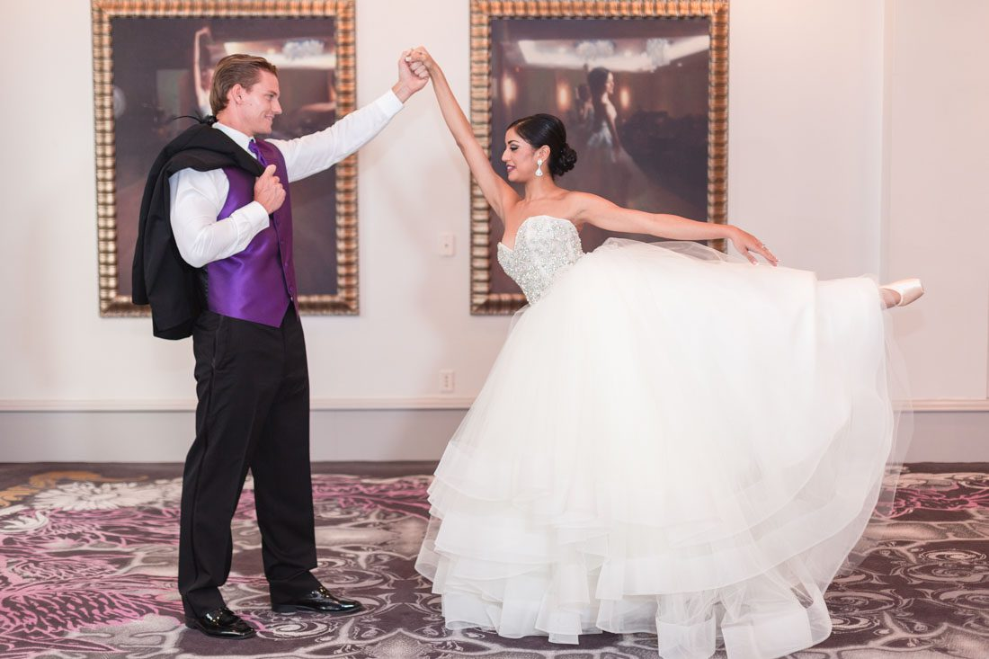 Orlando wedding photographer captures stunning ballerina black swan themed wedding at the Castle Hotel in Orlando
