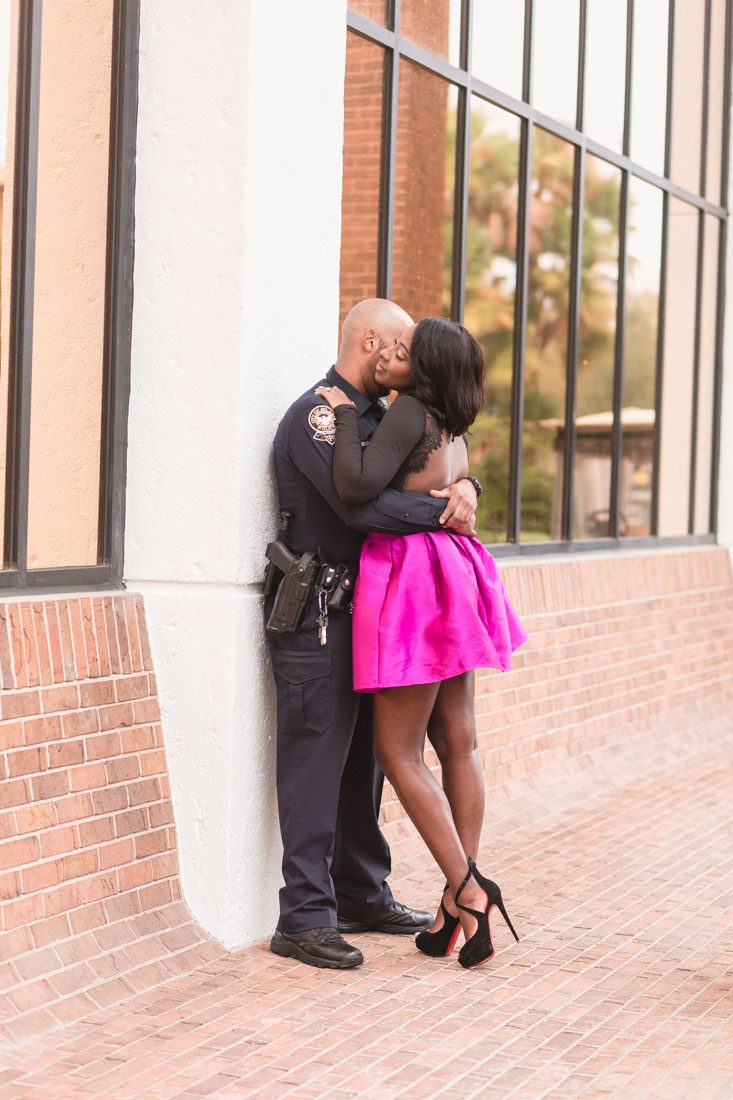 Romantic and fashion forward engagement session with a stylish couple at the university of central florida ucf in orlando with top wedding photographer