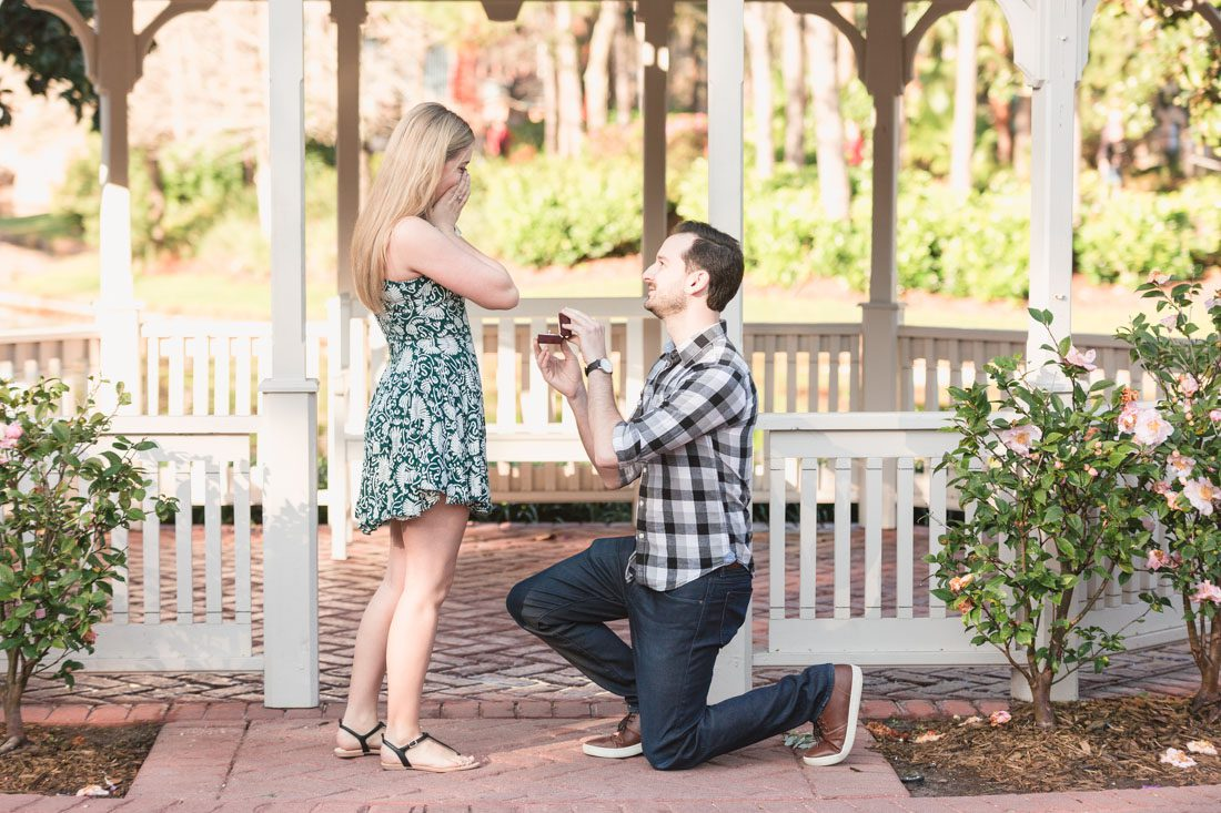 Daniel proposes to his girlfriend Emily at Disney's Port Orleans Riverside resort and hires a photographer to capture the moment