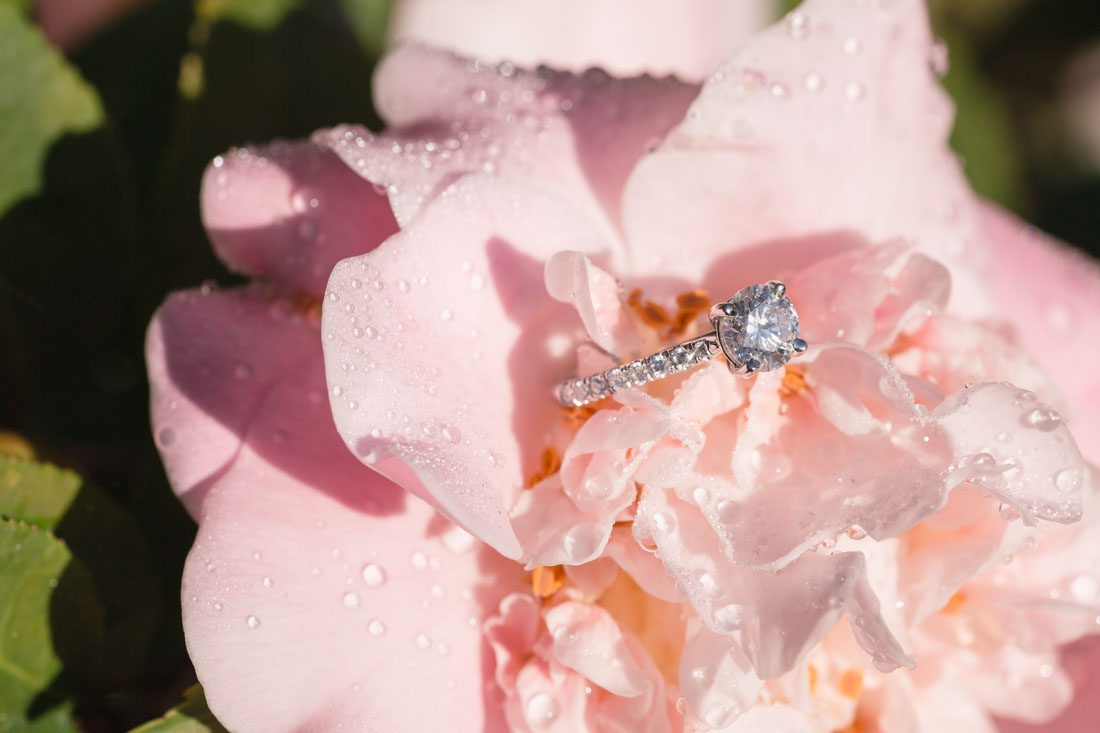 Close up photo of a diamond engagement ring Daniel used to propose to Emily