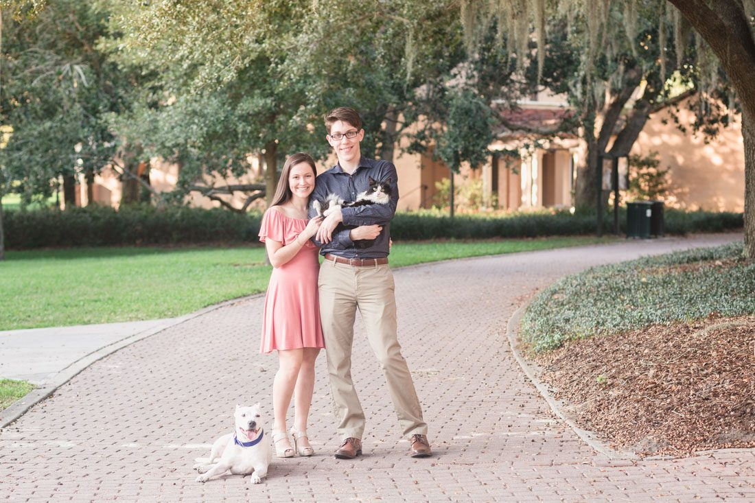 Engagement photography session featuring the couples cat and dog captured by Orlando wedding photographer