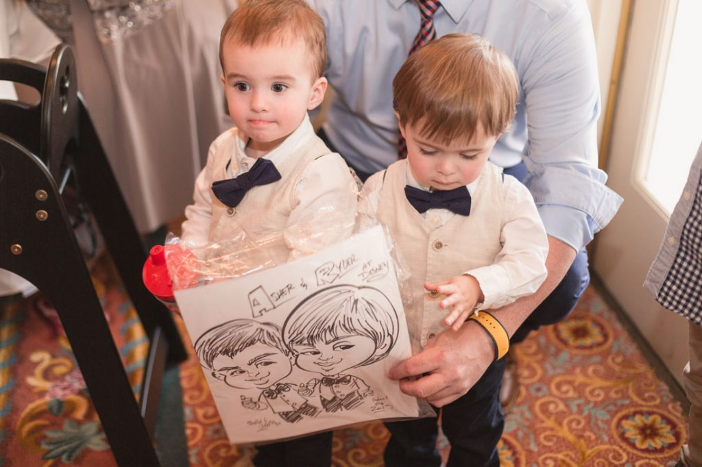 Disney wedding at the grand floridian featuring a caricature artist