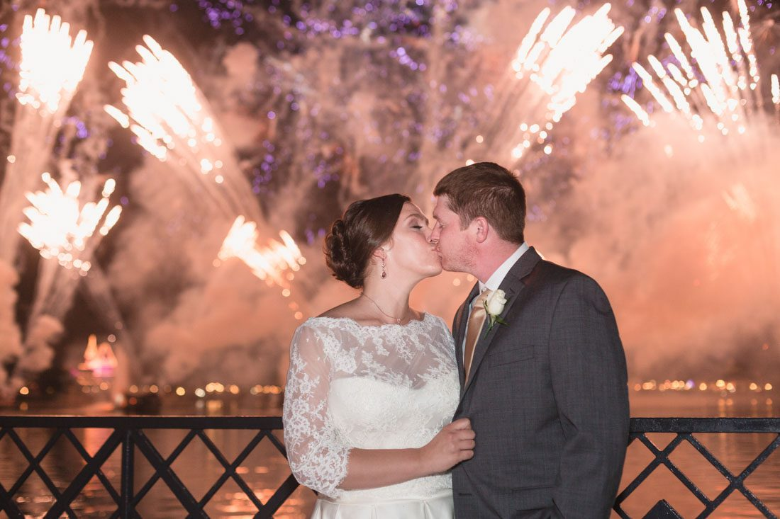 Fireworks show at Epcot dessert reception wedding by Orlando photographer