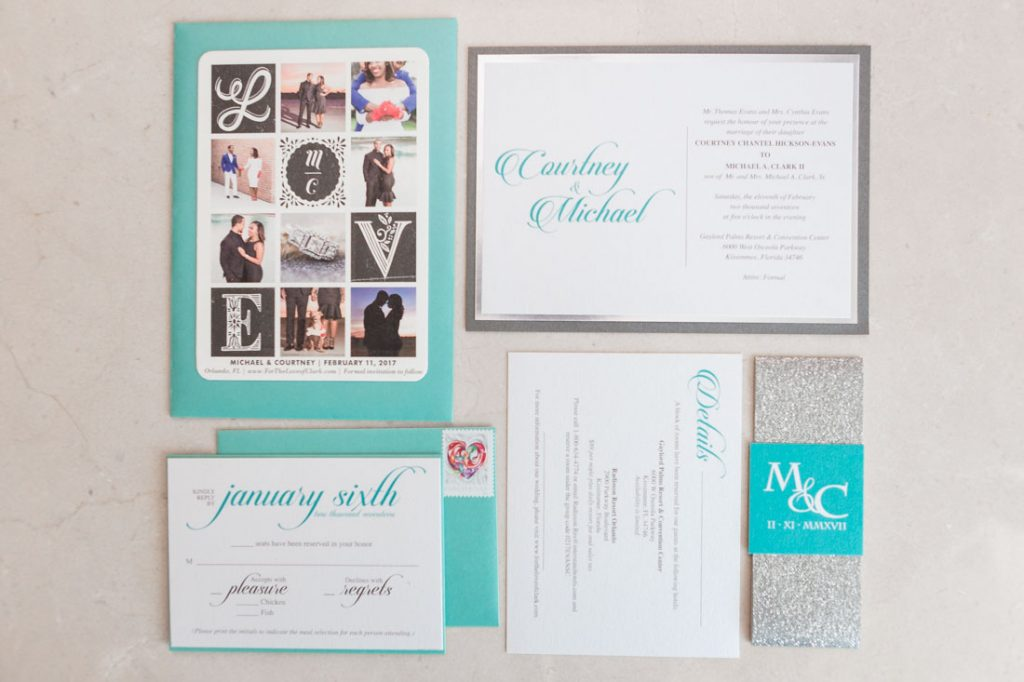 Wedding invitation suite by Hugs & Bliss captured by Orlando wedding photographer