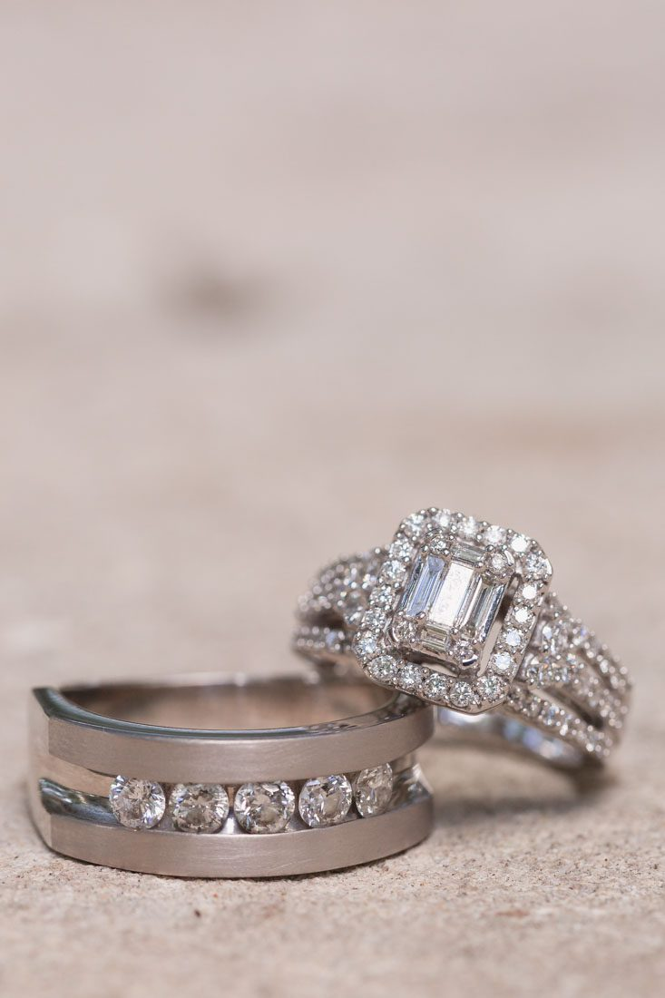 Close up of wedding rings at Kraft Azalea gardens elopement