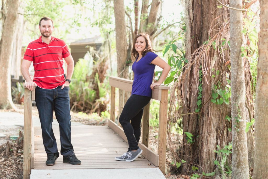Couples engagement portraits at Kraft Azalea a beautiful natural park and garden in Winter Park with Orlando wedding photographer Captured by Elle