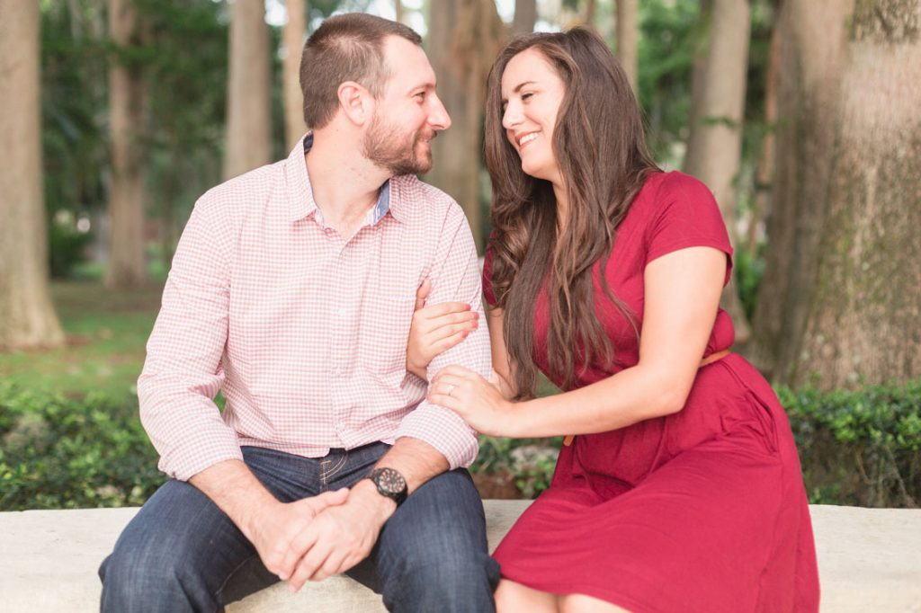 Sweet engagement photography session with top Orlando wedding photographer and videographer at a garden in Winter Park