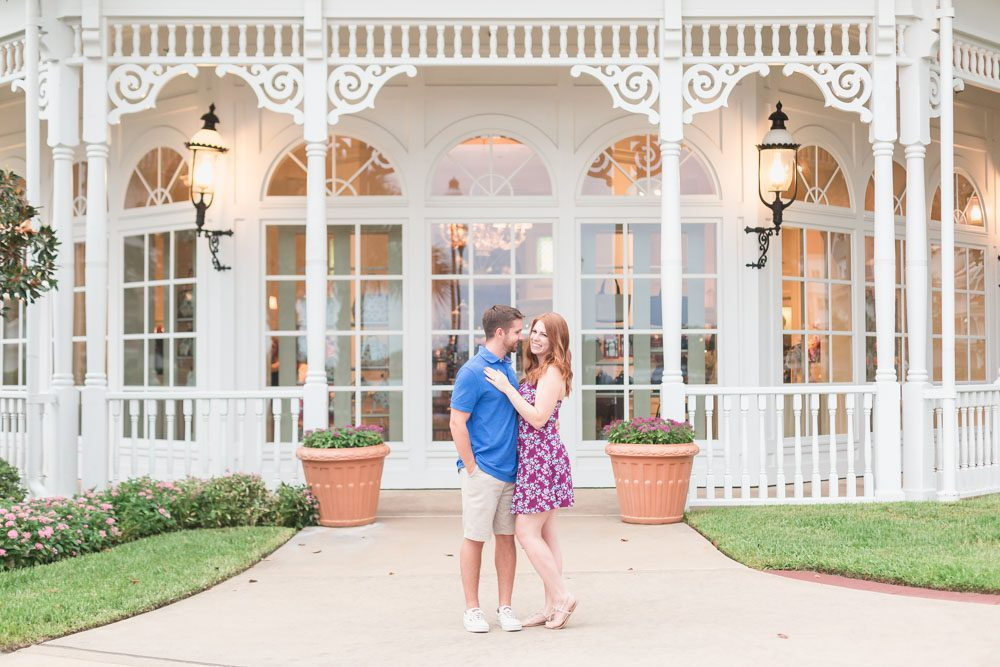Fun romantic engagement photography session with top Orlando photographer at Disney's Grand Floridian Resort in Central Florida