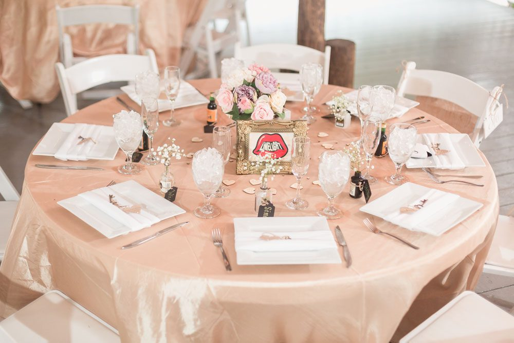 Champagne wedding table at Paradise Cove captured by Orlando wedding photographer and videographer