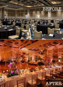 Before and after of a room with professional uplighting and pin spot lighting done by top Orlando DJ and lighting specialist Fyer Fly Productions