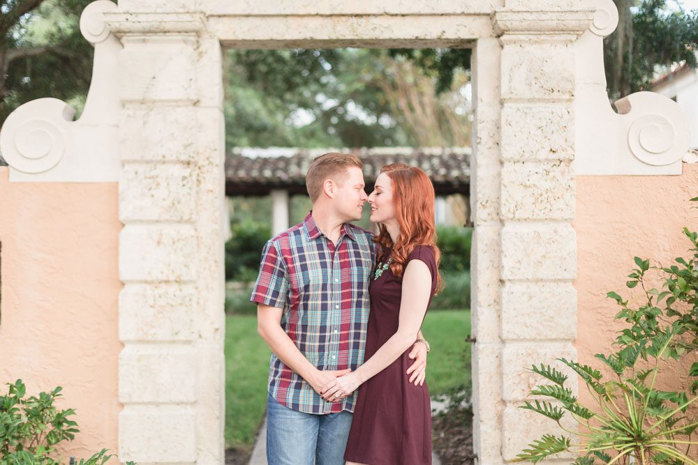 Engagement photography session at Rollins College campus in Winter Park Florida captured by one of the best wedding photographers in Orlando