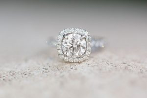Close up of the engagement ring during the engagement photo shoot in Winter Park, north of Orlando Florida