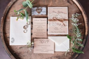 Rustic country wedding invitation stationary featuring burlap and lace for a barn wedding in Orlando, Florida