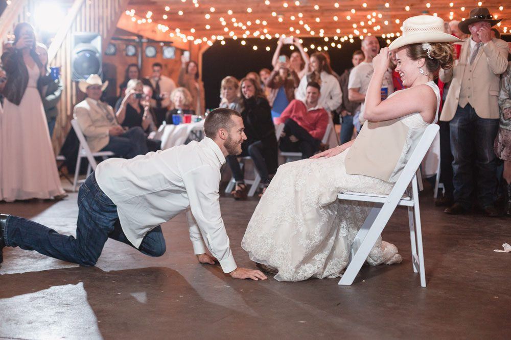 Photos of a fun country wedding reception at a barn north of Orlando Florida