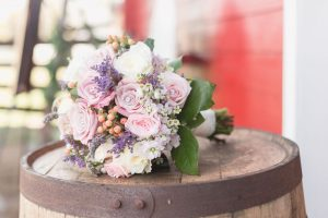 Rustic country wedding bouquet featuring burlap and lace for a barn wedding in Central Florida