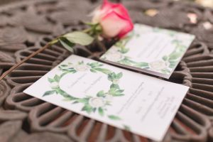 Romantic garden themed invitation suite for this Spring rustic wedding in Kissimmee, Florida captured by top Central Florida wedding photographer